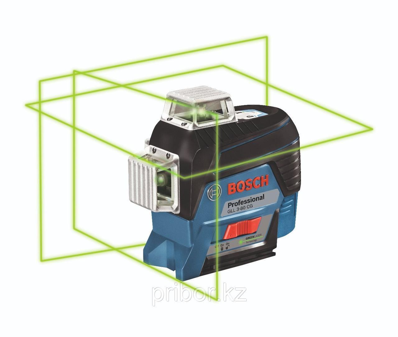 Лазерный профессиональный нивелир Bosch GLL 3-80CG с зелёными лучами