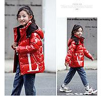 Пуховик зимний Valentino & Moncler от 2 до 7 лет для девочек, красный., фото 1