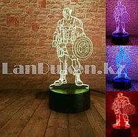Светодиодный 3D ночник Капитан Америка LED  3 цветных режима (20х9 см)