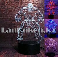 Светодиодный 3D ночник Халк LED  3 цветных режима (17*14 см)