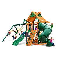 Детская площадка «Альпы», скалодром, горка труба, открытая горка, качели, домик с крышей