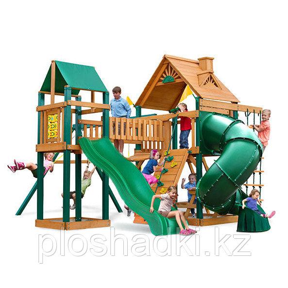 Детская площадка «Альпы 2», горка открытая, горка труба, скалодром, качели, домики с крышей, сетка лазалка