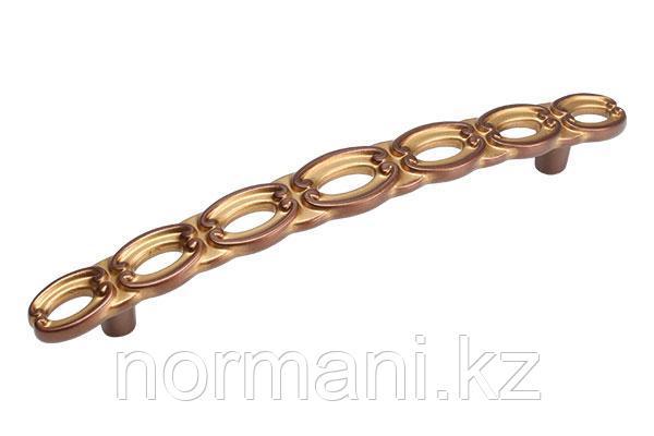 Мебельная ручка скоба, замак, размер посадки 128 мм, цвет медь Сиена с золотой патиной
