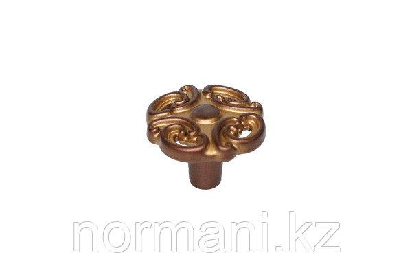 Мебельная ручка кнопка, цвет медь Сиена с золотой патиной