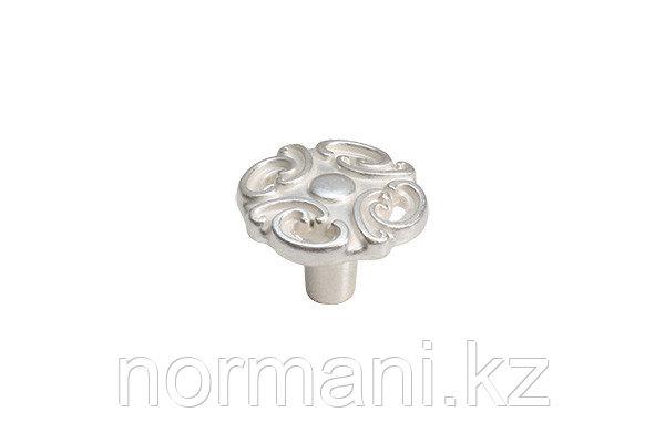Мебельная ручка для кухни серебро с белой патиной