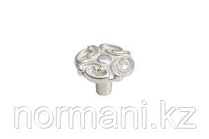Мебельная ручка кнопка, цвет серебро с белой патиной