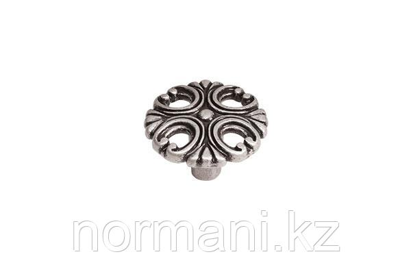 Мебельная ручка кнопка, цвет старое серебро с блеском