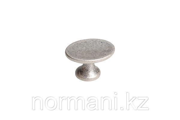 Мебельная ручка кнопка, замак, цвет старое серебро с блеском