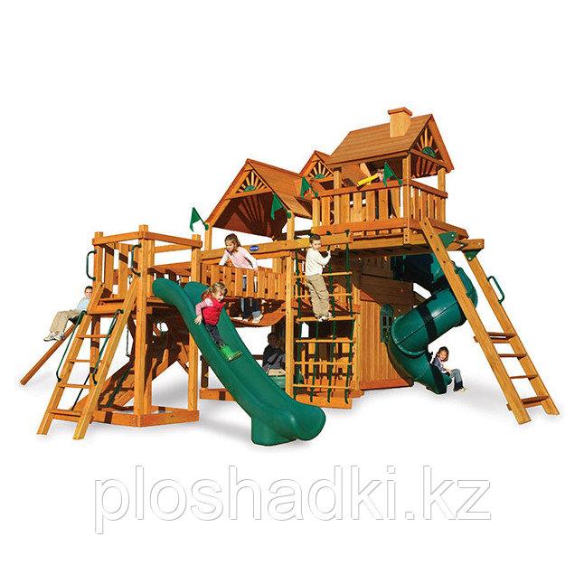 Детская площадка «Сафари», горка открыта, горка труба, сетка лазкала, домики с крышей