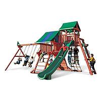 Детская площадка «Король», качели, горка, сетка лазалка, лестницы, домики с крышей, фото 1