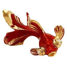 Статуэтка Золотая рыбка. Ручная работа, керамика, кристаллы Swarovski. Италия