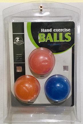 Кистевой силиконовый эспандер (в комплекте 3 штуки) 3 PCS High Quality Hand exercise BALLS OBO-11, фото 2