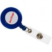 Держатель-рулетка для бейджей Berlingo70см петелька клип синий