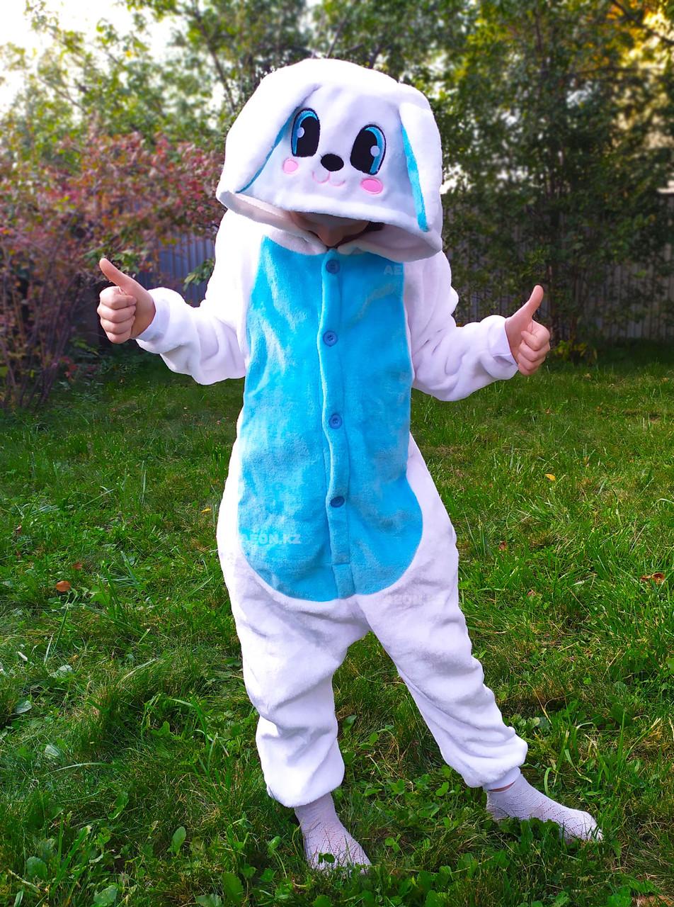 Кигуруми Зайчик бело-голубой детский