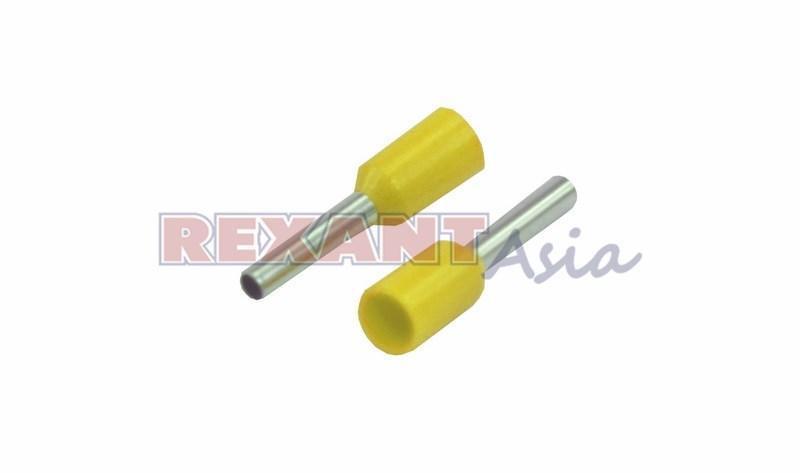 Наконечник штыревой втулочный изолированный F-8 мм 1 мм² (НШВи 1.0-8) желтый  REXANT, (08-0813 )