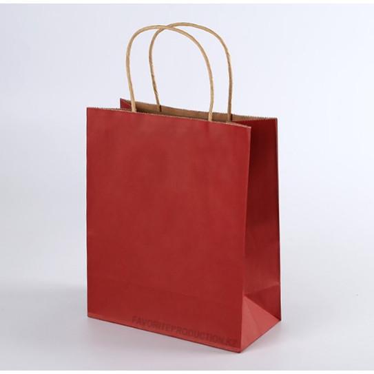Крафт пакет красный   25см*30см