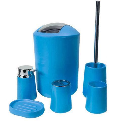 Набор аксессуаров для ванной комнаты и туалета Bathloox [6 предметов] (Синий)