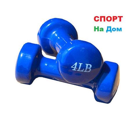 Фитнес гантели (пара, цветные) неопреновые 4LB, фото 2