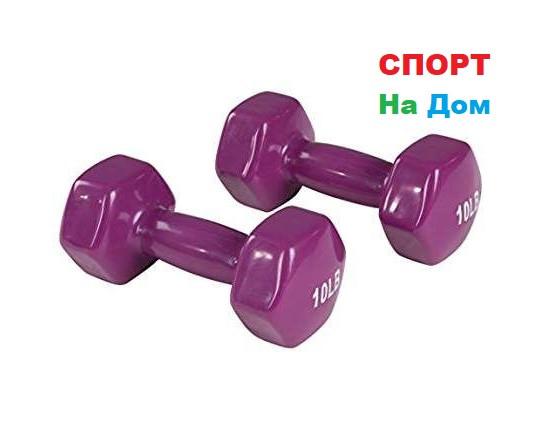 Фитнес гантели (пара, цветные) неопреновые 10LB