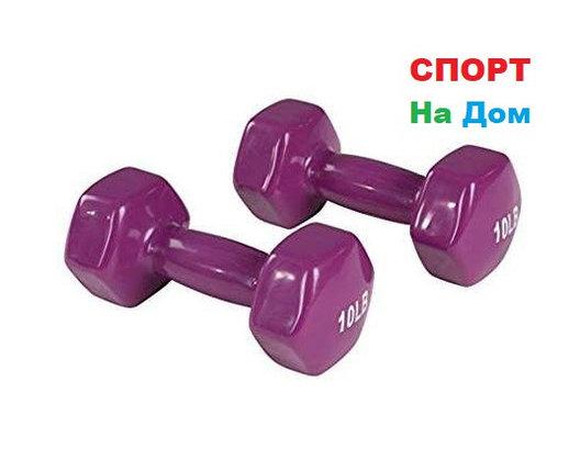 Фитнес гантели (пара, цветные) неопреновые 10LB, фото 2