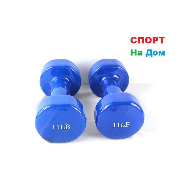 Фитнес гантели (пара, цветные) неопреновые 11LB