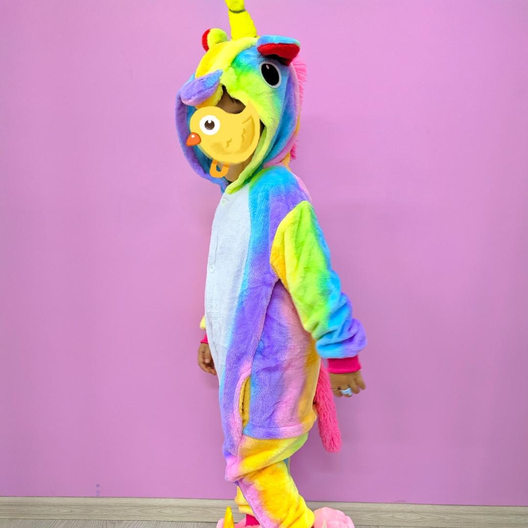 Детская пижама кигуруми радужный единорог