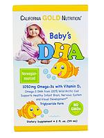 California Gold Nutrition, ДГК для детей, 1050 мг, Омега-3 с витамином D3, 59 мл (2 жидк. унции)
