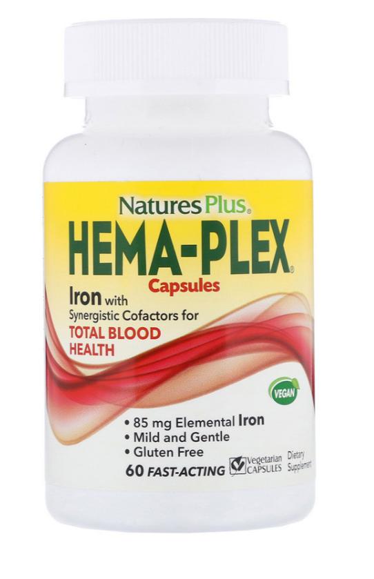 Nature's Plus, Hema-Plex, 60 вегетарианских капсул быстрого действия