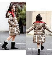"""Пуховик зимний """"Valentino"""" от 4 до 11 лет для девочек, золотистый., фото 1"""
