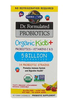 Garden of Life, Пробиотическая добавка Dr. Formulated Probiotics, Organic Kids +, пробиотики и витамины C и D,