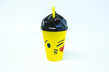 """Стакан пластиковый с крышкой и трубочкой """"Emoji"""" 400мл"""