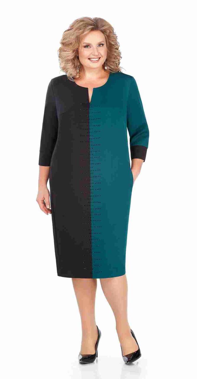 Платье Pretty-930/2, чёрный+изумруд, 56