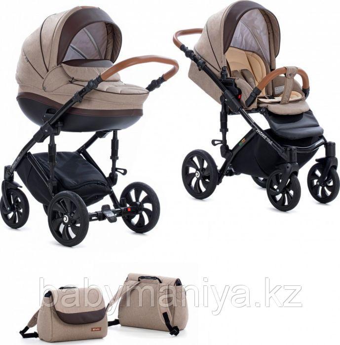Коляска детская 2 в 1 Tutis Mimi Style короб+прогулка Бежевый Лен + кожа Коричневая