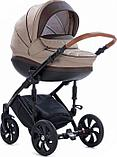 Коляска детская 2 в 1 Tutis Mimi Style короб+прогулка Бежевый Лен + кожа Коричневая, фото 2