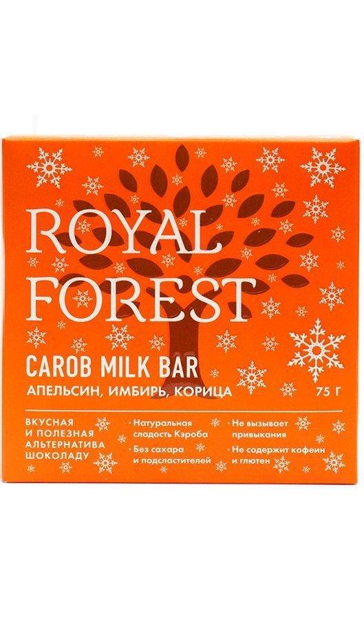 Шоколад из кэроба Royal Forest с апельсином, имбирем и корицей, 75 гр