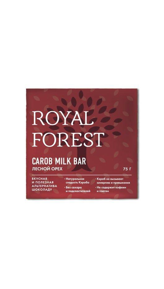 Шоколад из кэроба Royal Forest Лесной орех, 75 гр