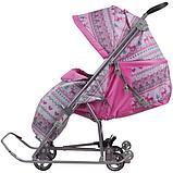 Санки-коляска Ника Умка 3-1 Вязанный Розовый, фото 2