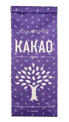 Цельные необжаренные, нечищенные  какао-бобы Royal Forest, 200 гр