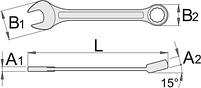 Ключ комбинированный удлинённый (полированные головки), для безопасной работы на высоте, фото 2