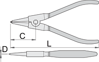 Съёмник наружных стопорных колец с прямыми концами, фото 2