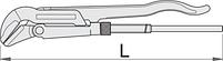 Ключ трубный (шведский тип), угол 45°, фото 2