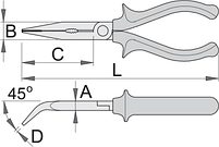 Плоскогубцы удлинённые изогнутые, рукоятки BI, фото 2