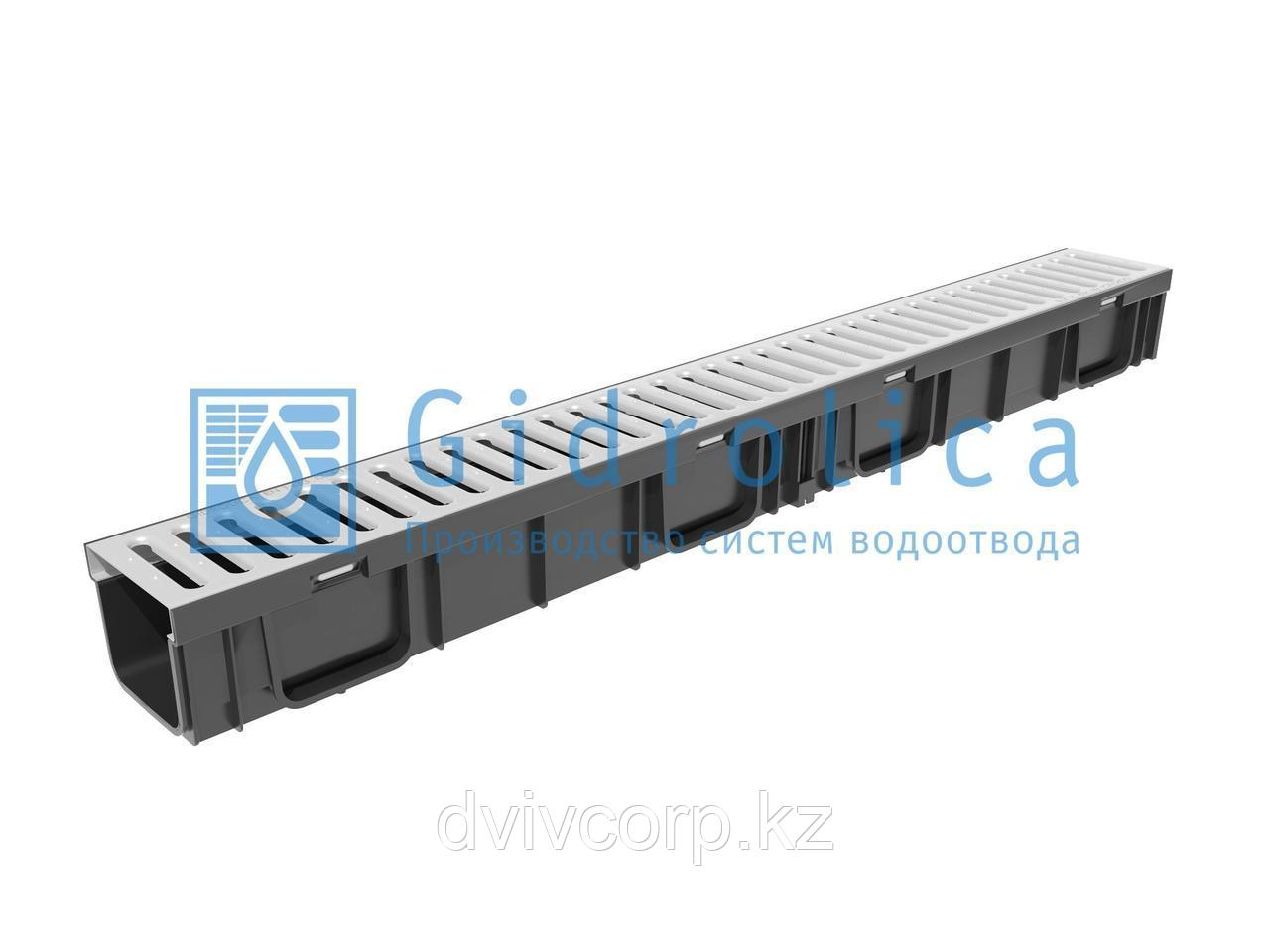 Арт. 0806 Комплект Gidrolica Light: лоток водоотводный ЛВ -10.11,5.9,5 - пластиковый с решеткой РВ -10.10,8.10