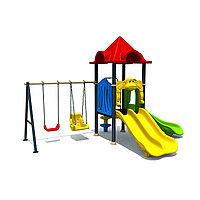 """Детский игровой комплекс """"Огонек"""", лестница, горки 3, качели, нержавеющая сталь"""