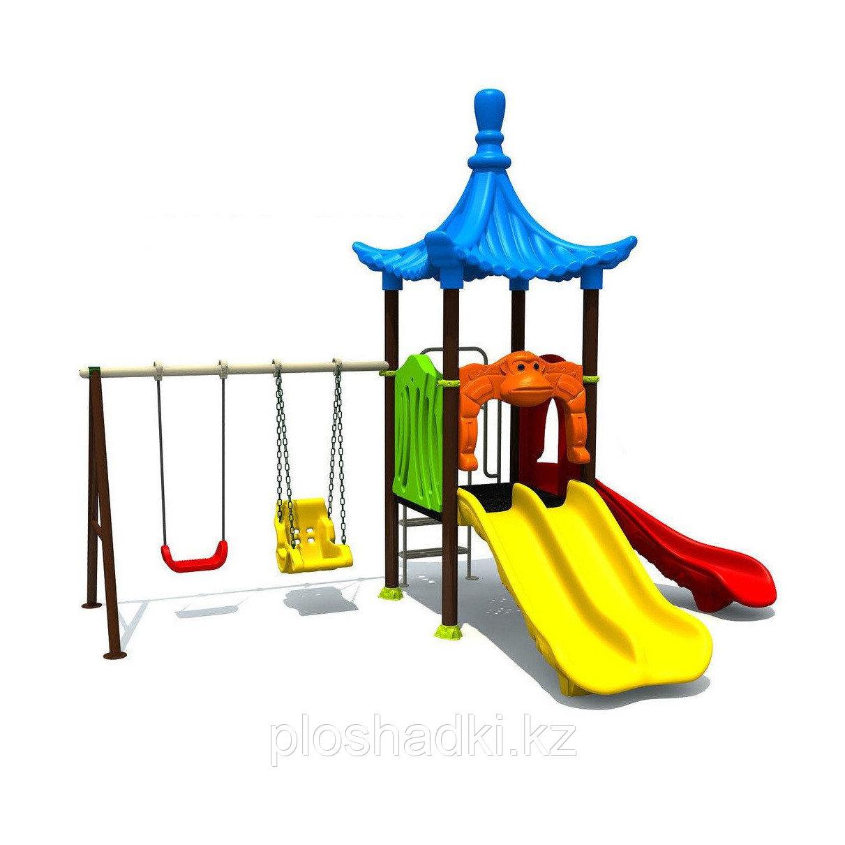 """Детский игровой комплекс """"Волна"""", горки 2, домик, лестница"""