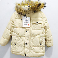 """Зимняя куртка """"Moncler"""" для девочек от 7 до 11 лет, бежевая., фото 1"""