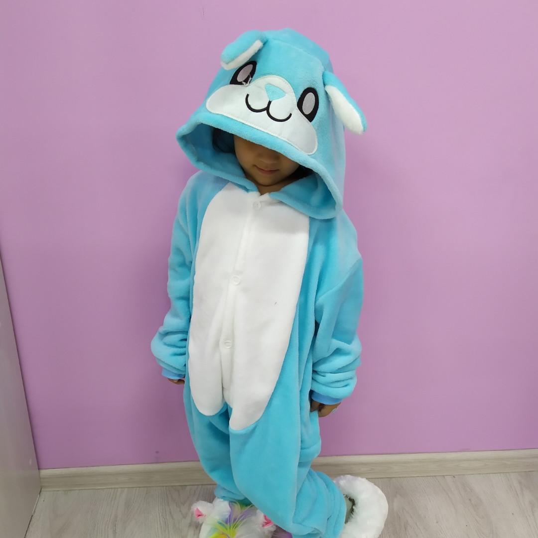 Детская пижама кигуруми заяц голубой