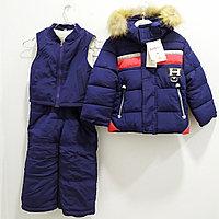 """Тройка: куртка, комбинезон, жилетка """"Ohccmith"""", для мальчиков от 2 до 7 лет, синяя."""
