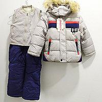"""Тройка: куртка, комбинезон, жилетка """"Ohccmith"""", для мальчиков от 2 до 7 лет, серая., фото 1"""