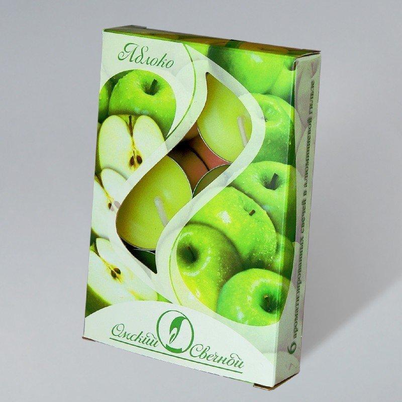 Свечи чайные в гильзе ароматизир. Яблоко 12гр.,  парафин, 6 шт